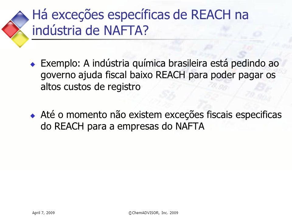 Há exceções específicas de REACH na indústria de NAFTA