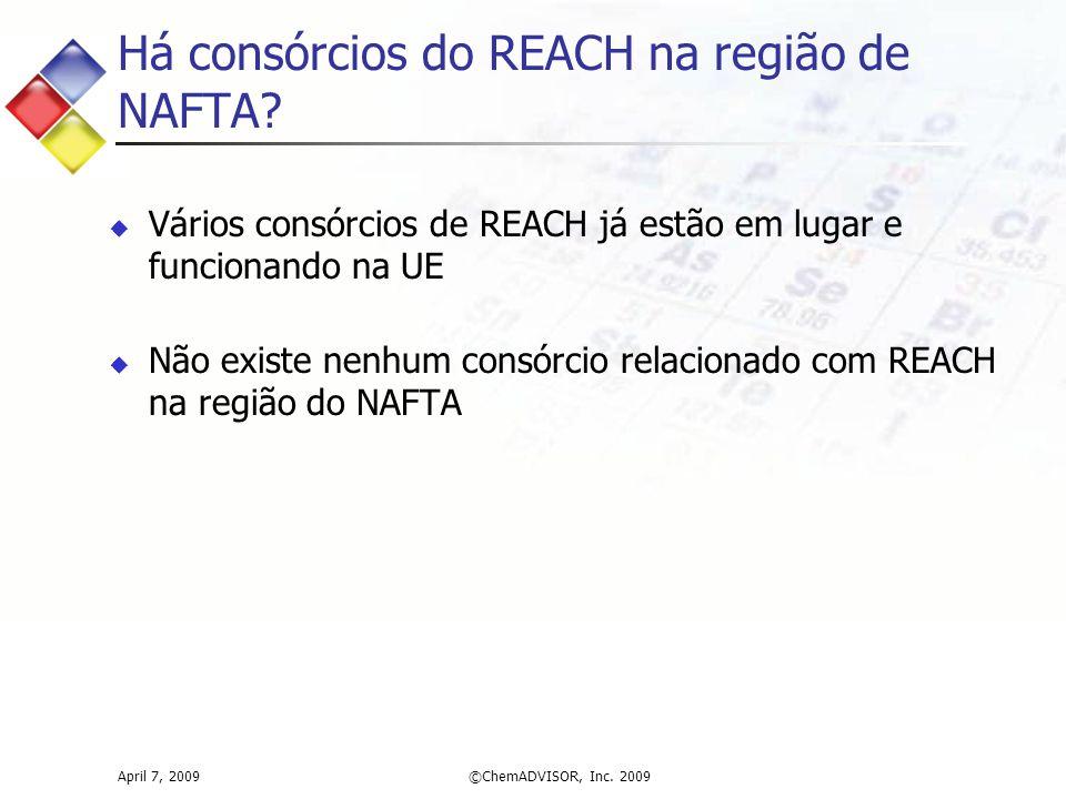 Há consórcios do REACH na região de NAFTA