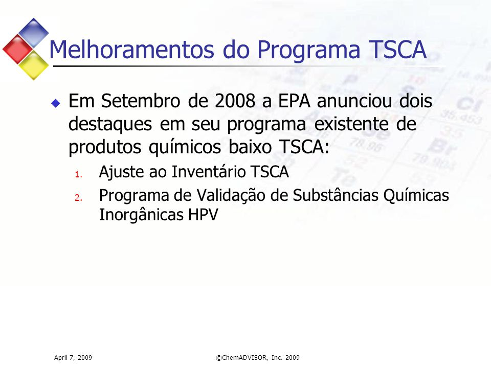 Melhoramentos do Programa TSCA