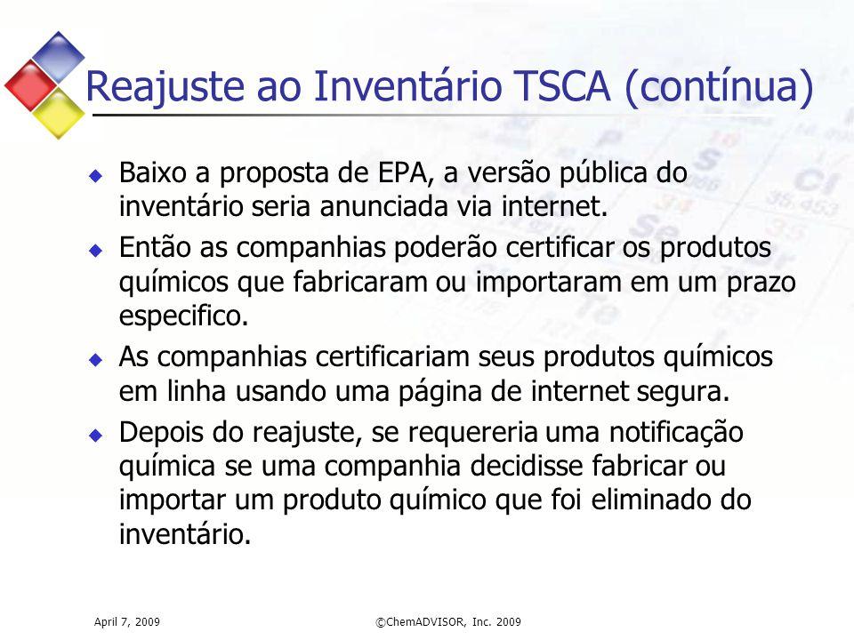 Reajuste ao Inventário TSCA (contínua)