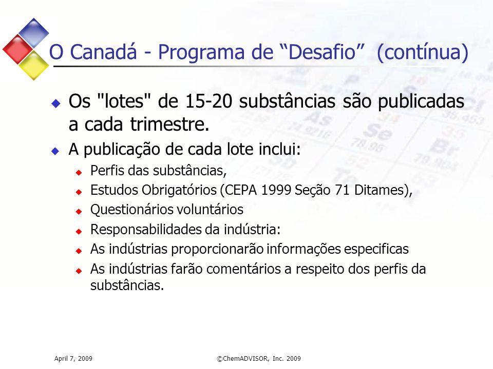 O Canadá - Programa de Desafio (contínua)