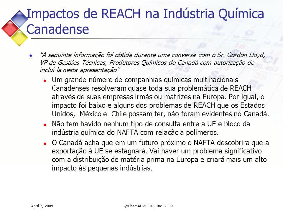 Impactos de REACH na Indústria Química Canadense