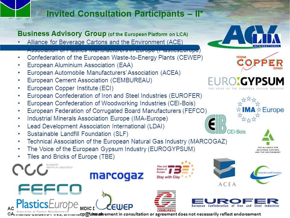 Invited Consultation Participants – II*