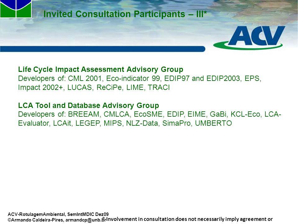 Invited Consultation Participants – III*