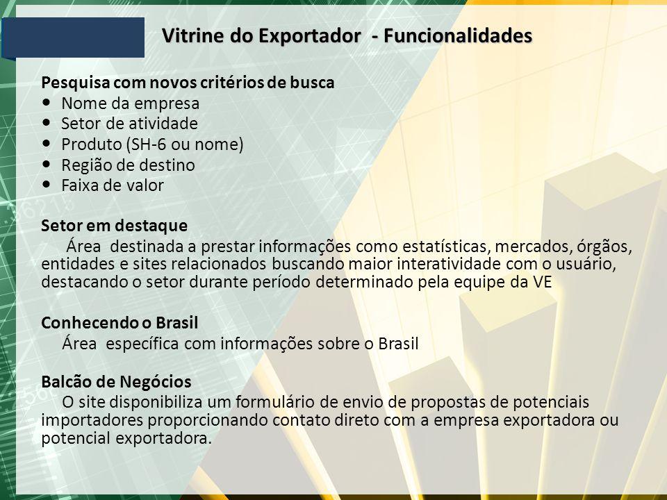 Vitrine do Exportador - Funcionalidades