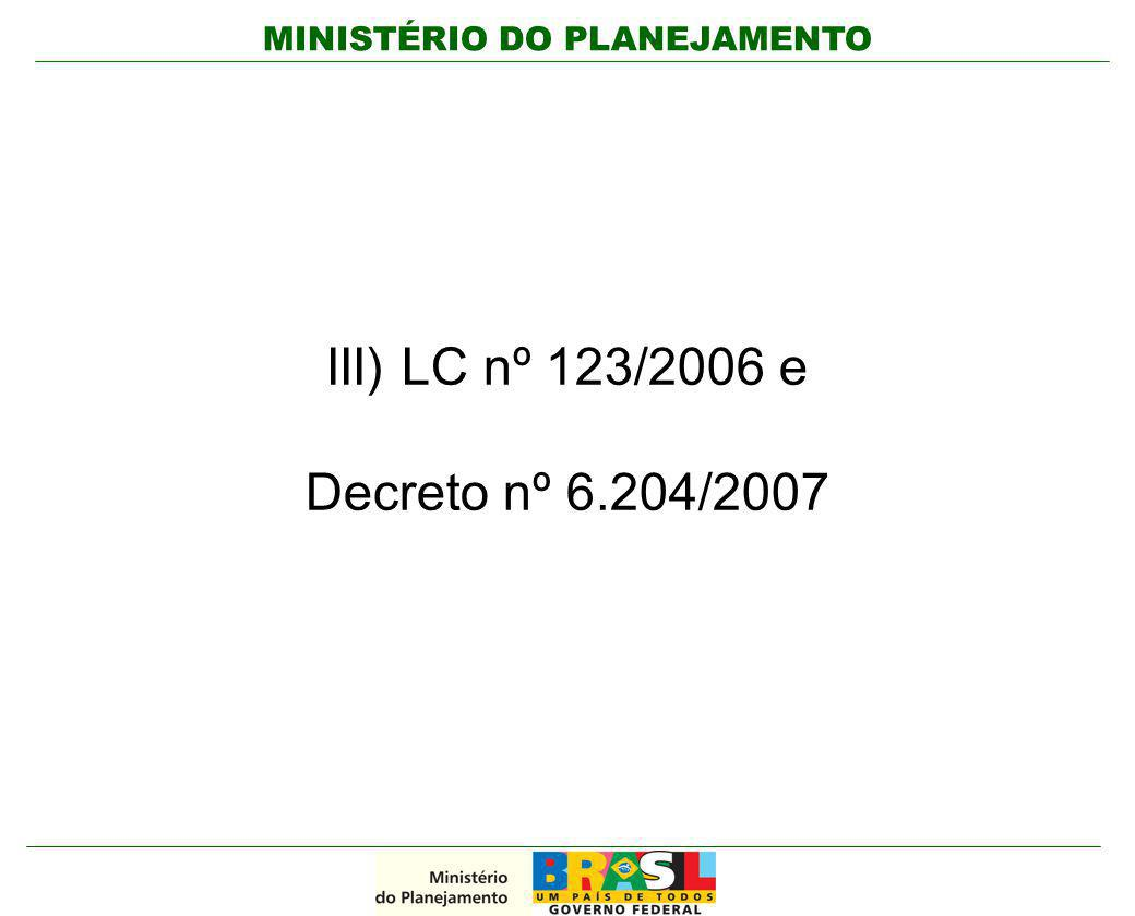 III) LC nº 123/2006 e Decreto nº 6.204/2007