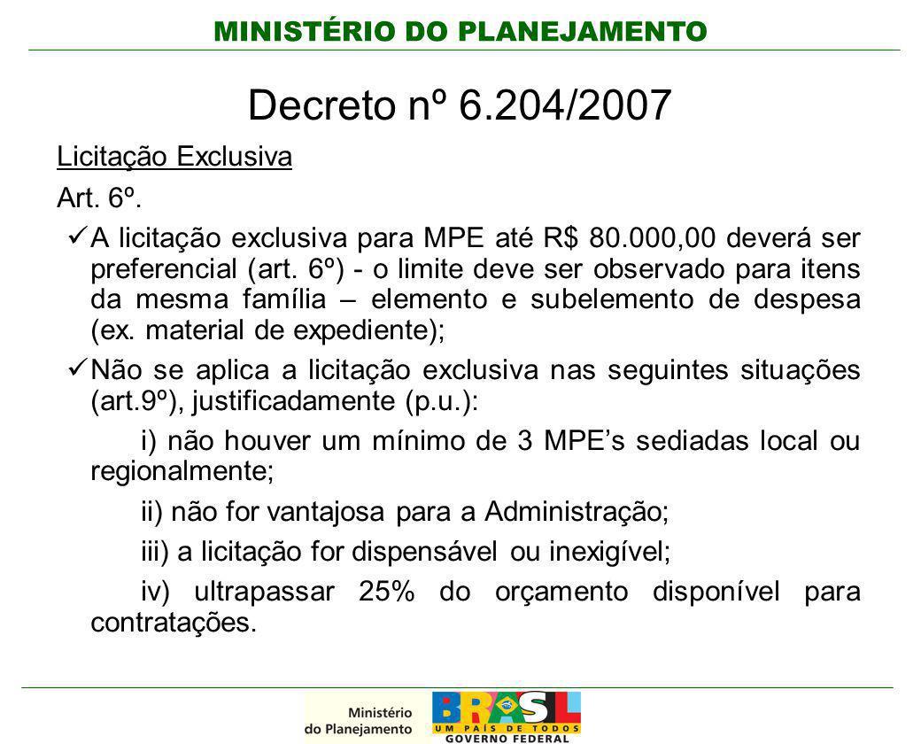 Decreto nº 6.204/2007 Licitação Exclusiva Art. 6º.