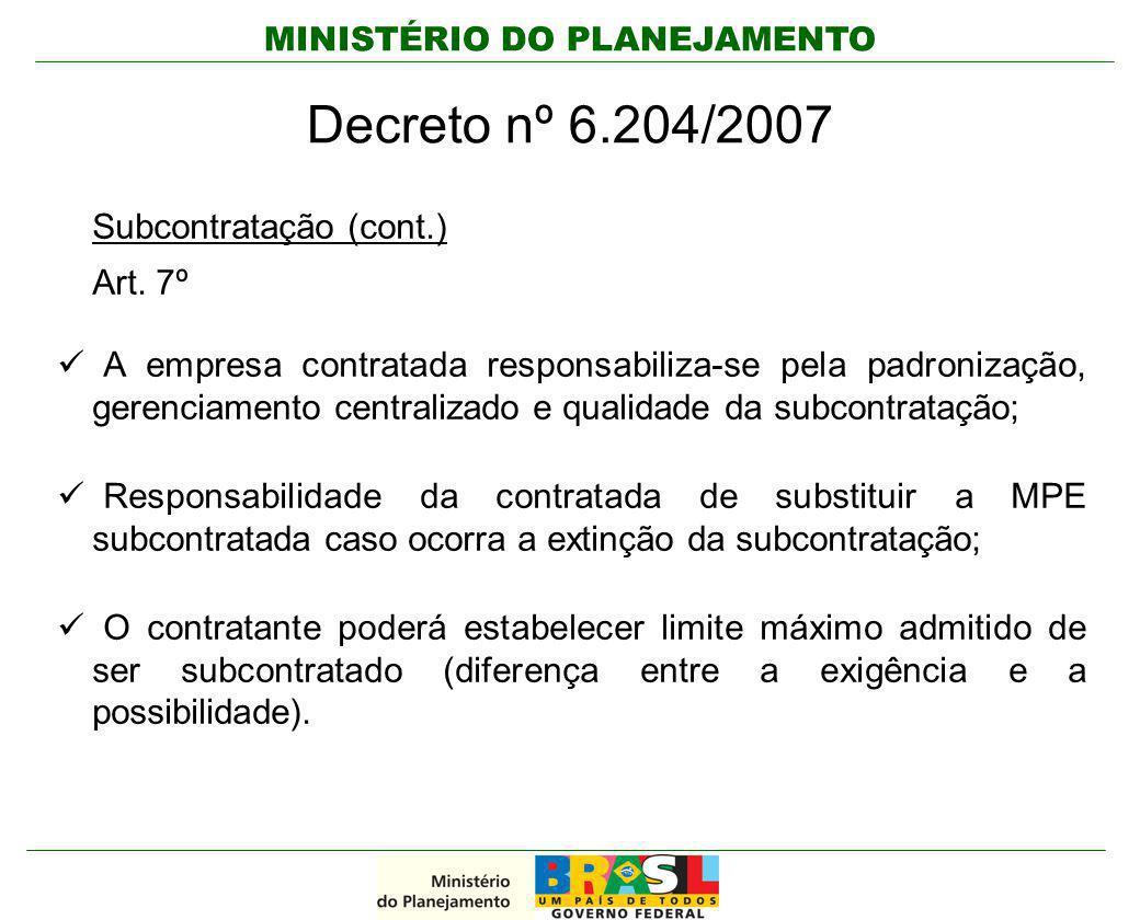 Decreto nº 6.204/2007 Subcontratação (cont.) Art. 7º