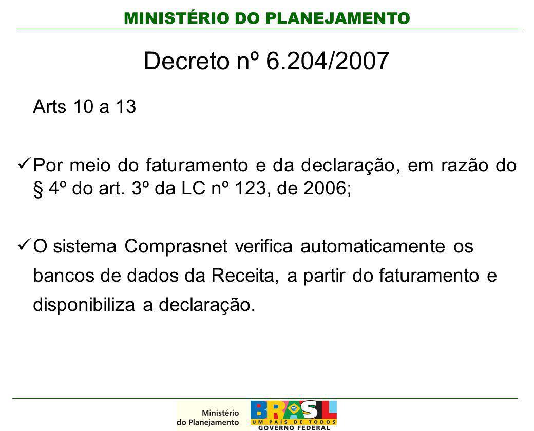 Decreto nº 6.204/2007 Arts 10 a 13. Por meio do faturamento e da declaração, em razão do § 4º do art. 3º da LC nº 123, de 2006;