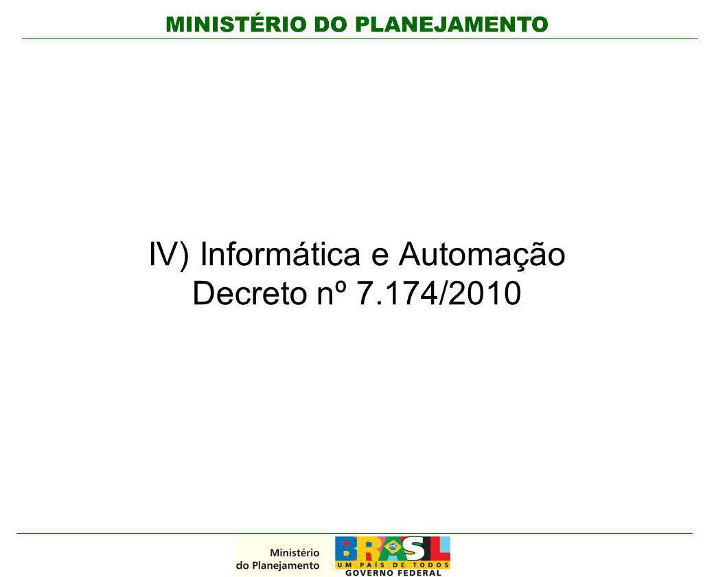 IV) Informática e Automação Decreto nº 7.174/2010
