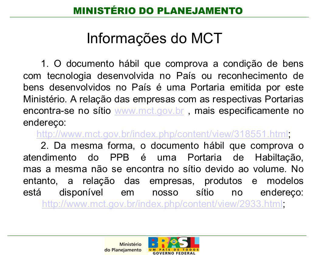 Informações do MCT