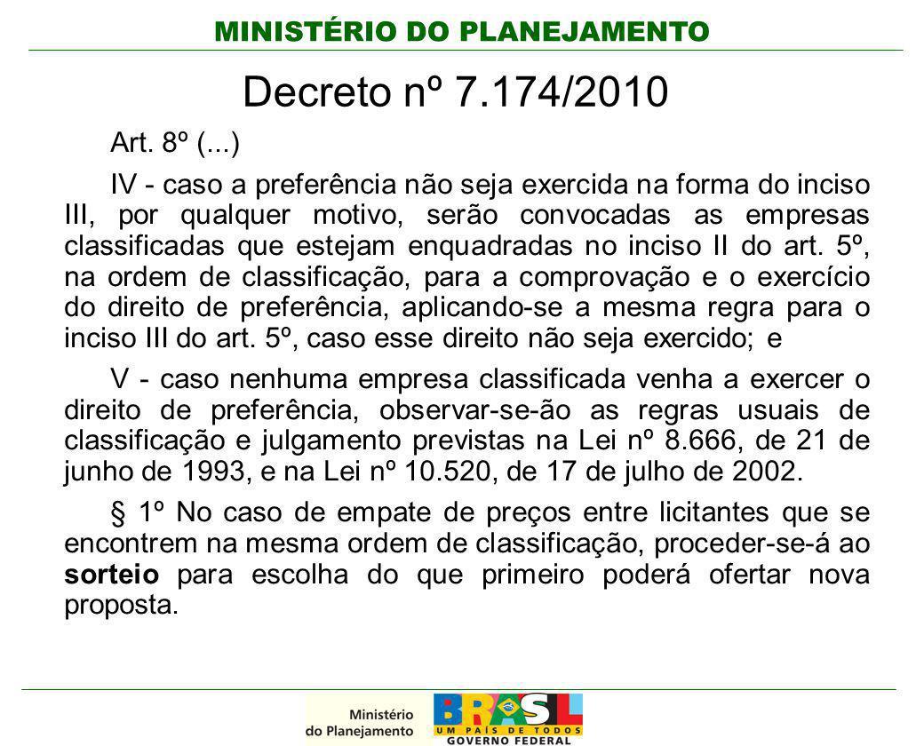 Decreto nº 7.174/2010 Art. 8º (...)
