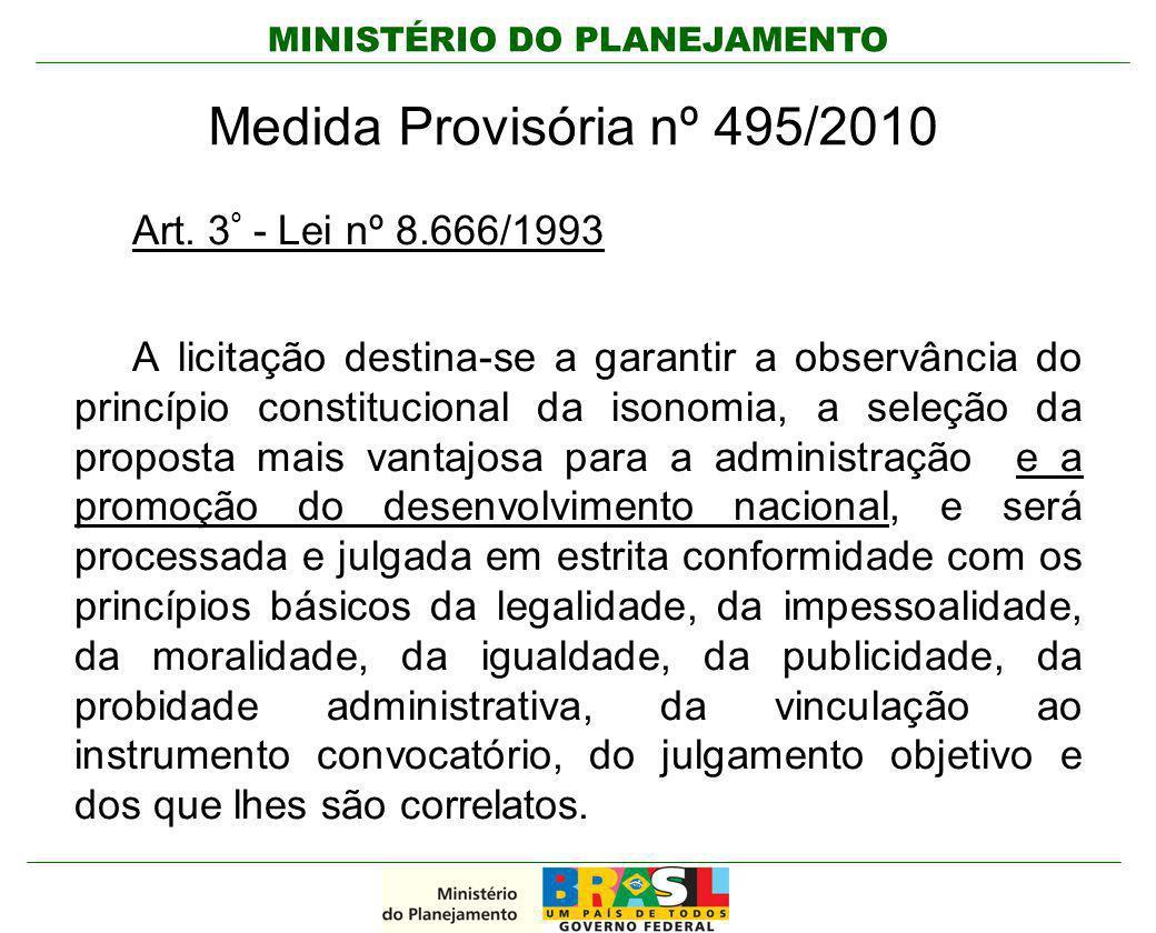 Medida Provisória nº 495/2010 Art. 3º - Lei nº 8.666/1993