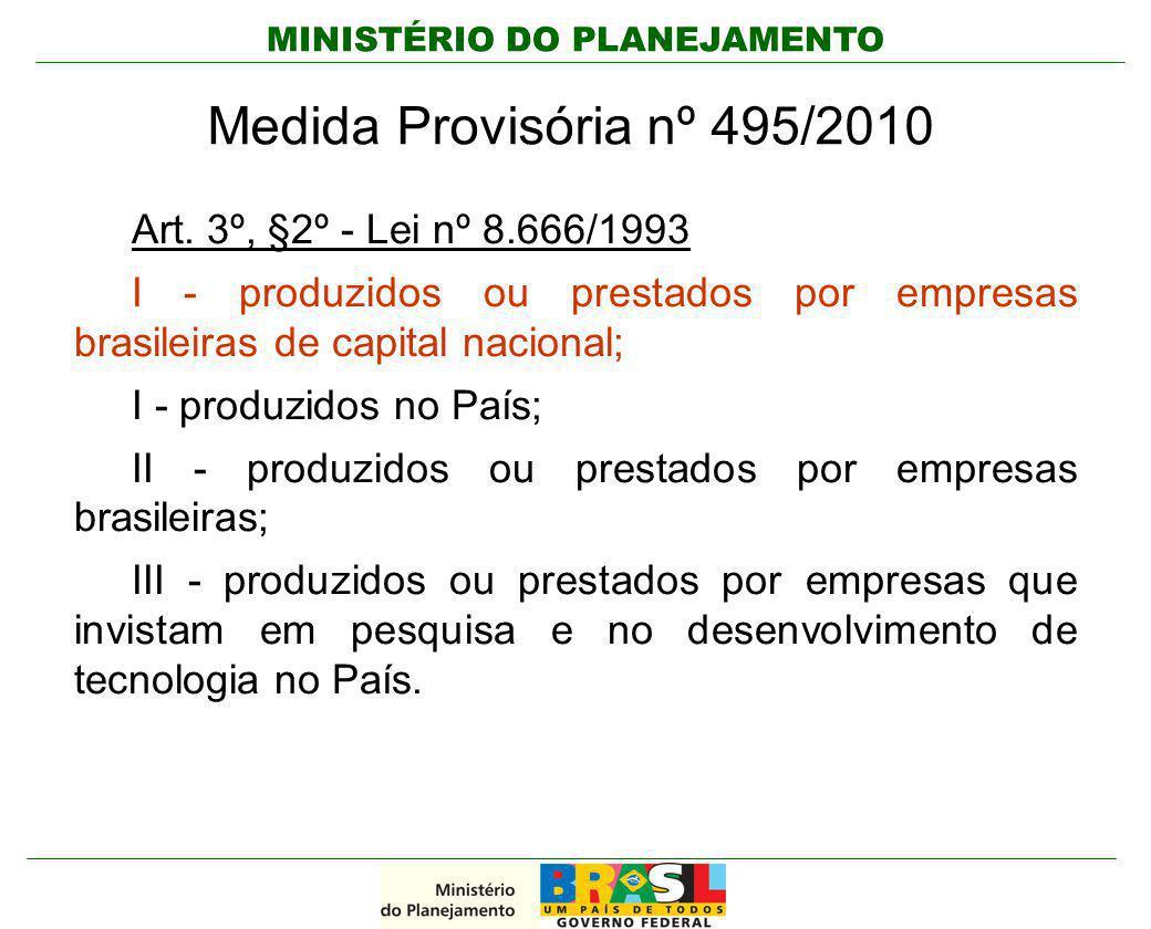 Medida Provisória nº 495/2010 Art. 3º, §2º - Lei nº 8.666/1993