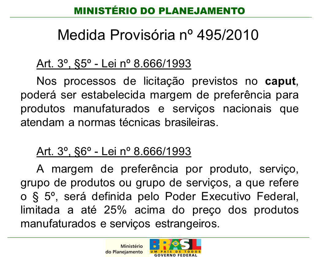 Medida Provisória nº 495/2010 Art. 3º, §5º - Lei nº 8.666/1993