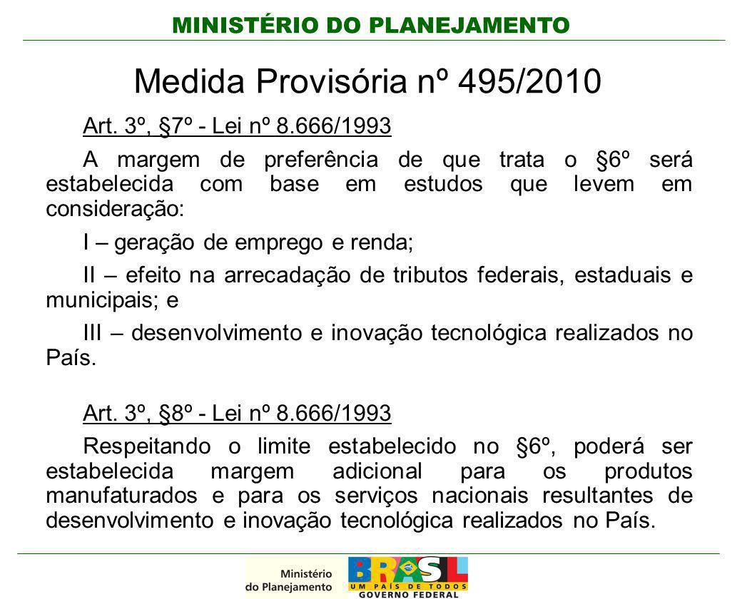 Medida Provisória nº 495/2010 Art. 3º, §7º - Lei nº 8.666/1993