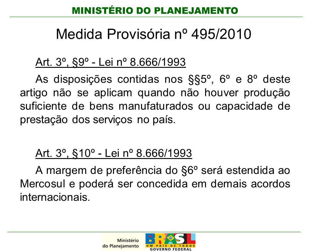 Medida Provisória nº 495/2010 Art. 3º, §9º - Lei nº 8.666/1993