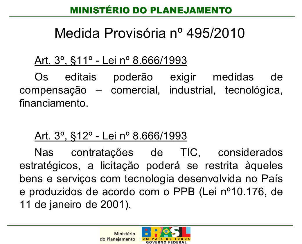 Medida Provisória nº 495/2010 Art. 3º, §11º - Lei nº 8.666/1993