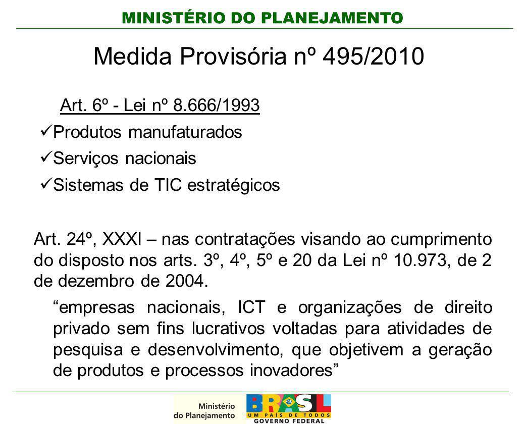 Medida Provisória nº 495/2010 Art. 6º - Lei nº 8.666/1993