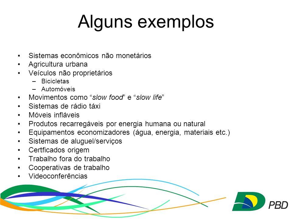 Alguns exemplos Sistemas econômicos não monetários Agricultura urbana