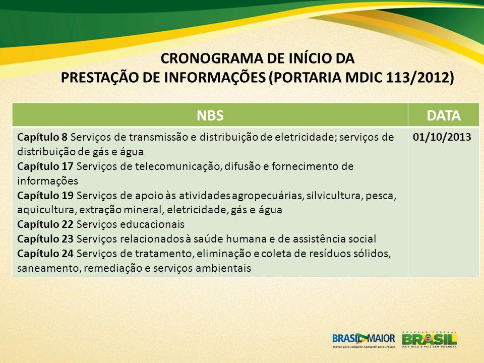 CRONOGRAMA DE INÍCIO DA PRESTAÇÃO DE INFORMAÇÕES (PORTARIA MDIC 113/2012)