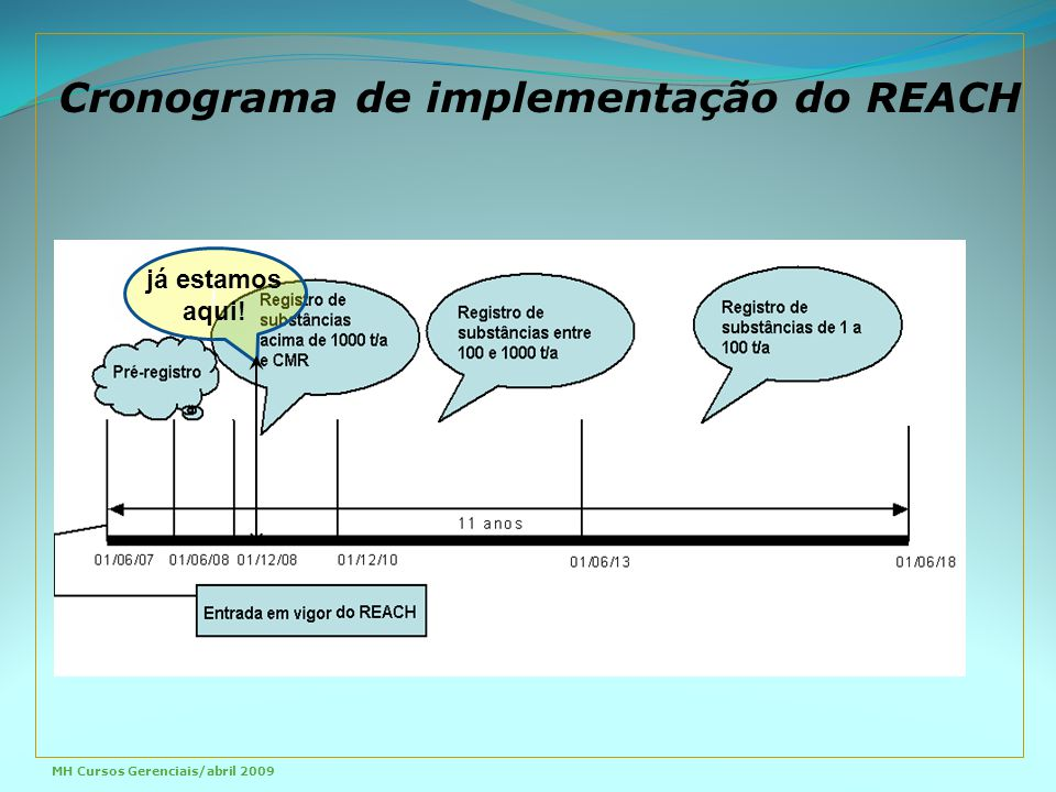 Cronograma de implementação do REACH