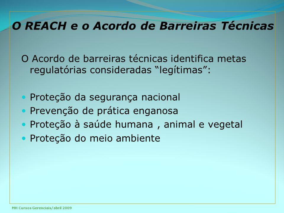 O REACH e o Acordo de Barreiras Técnicas