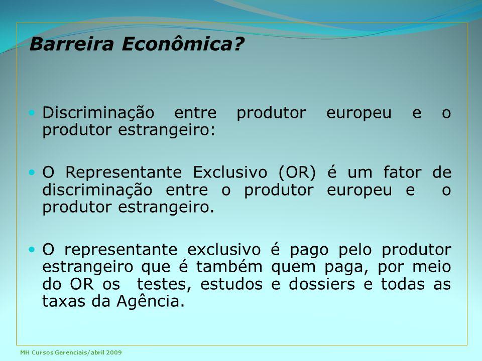 Barreira Econômica Discriminação entre produtor europeu e o produtor estrangeiro: