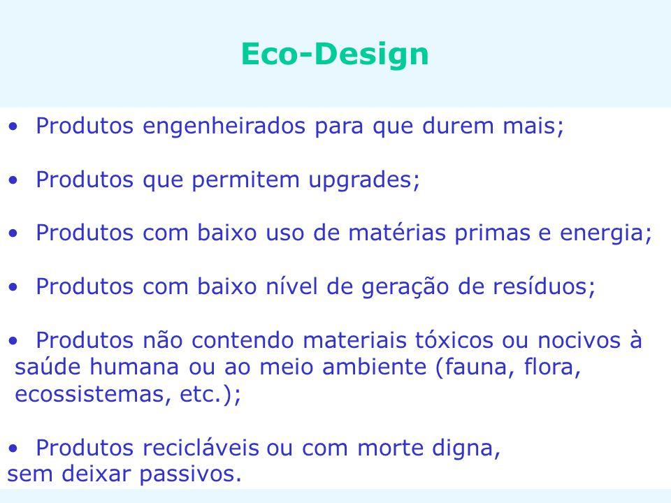 Eco-Design Produtos engenheirados para que durem mais;