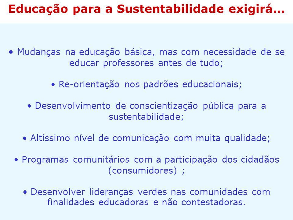 Educação para a Sustentabilidade exigirá...