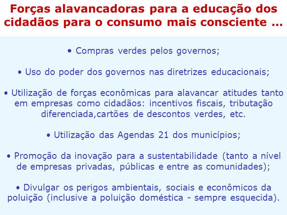 Forças alavancadoras para a educação dos cidadãos para o consumo mais consciente ...