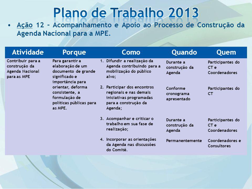 Plano de Trabalho 2013 Ação 12 – Acompanhamento e Apoio ao Processo de Construção da Agenda Nacional para a MPE.