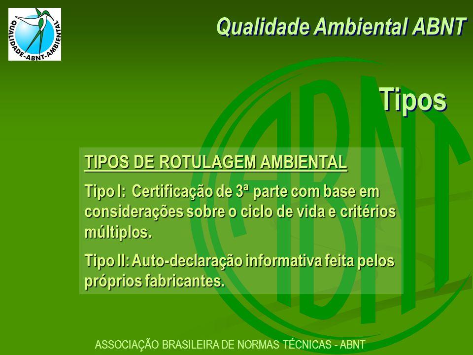 Tipos Qualidade Ambiental ABNT TIPOS DE ROTULAGEM AMBIENTAL