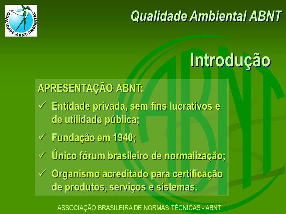 Introdução Qualidade Ambiental ABNT APRESENTAÇÃO ABNT: