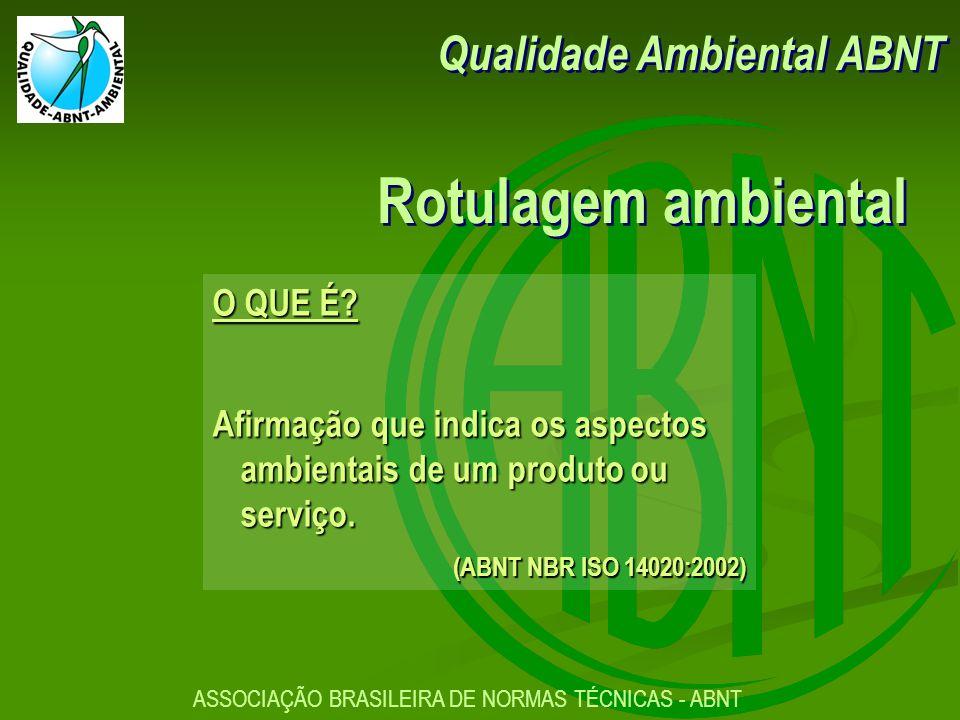 Rotulagem ambiental Qualidade Ambiental ABNT O QUE É