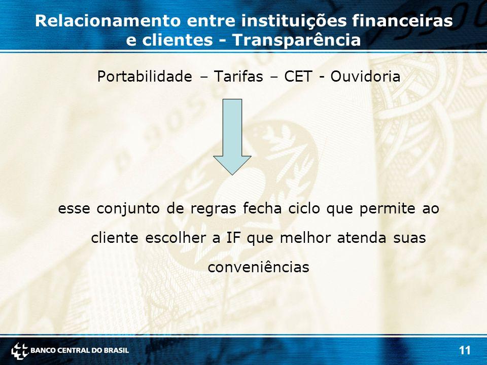 Relacionamento entre instituições financeiras e clientes - Transparência