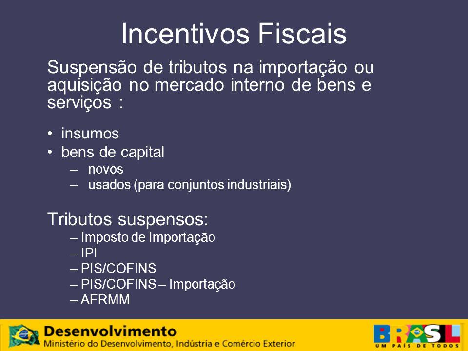 Incentivos Fiscais Suspensão de tributos na importação ou aquisição no mercado interno de bens e serviços :