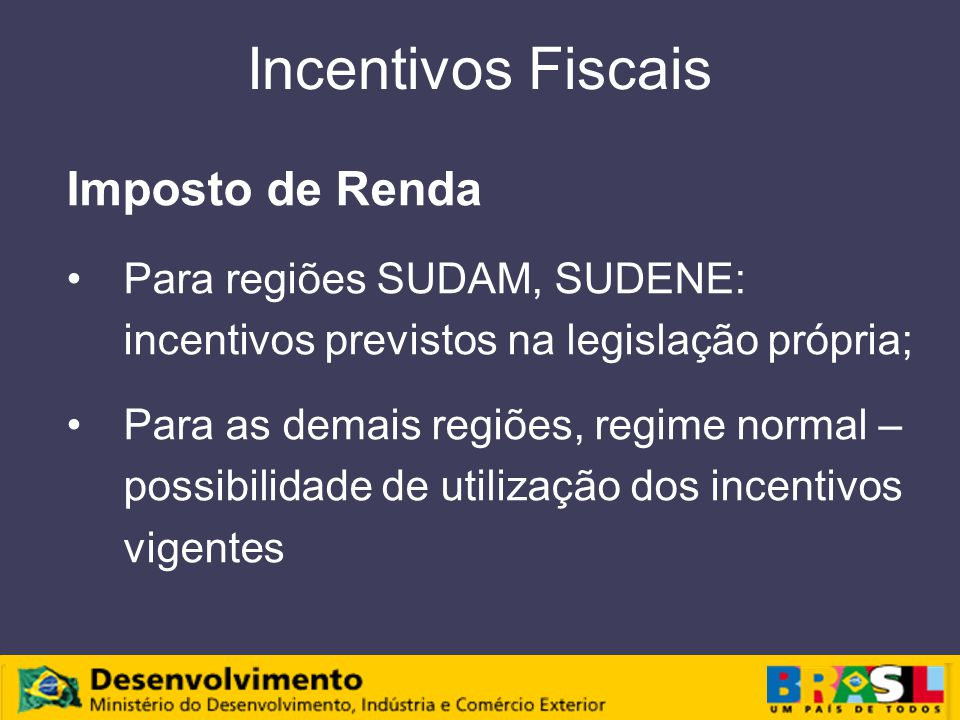 Incentivos Fiscais Imposto de Renda