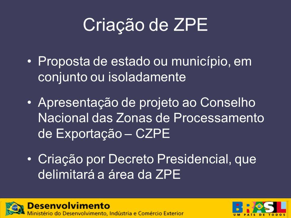 Criação de ZPE Proposta de estado ou município, em conjunto ou isoladamente.