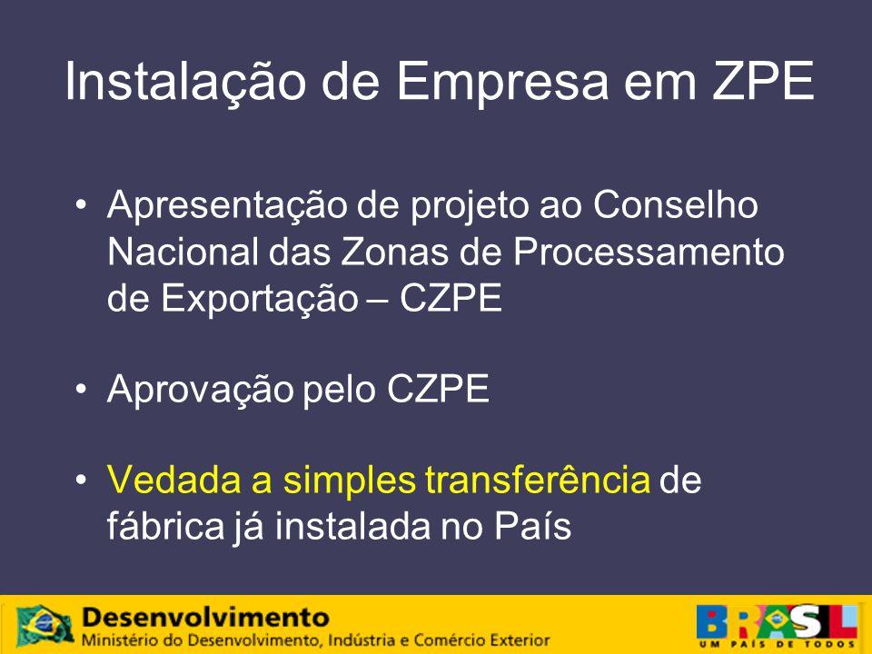 Instalação de Empresa em ZPE