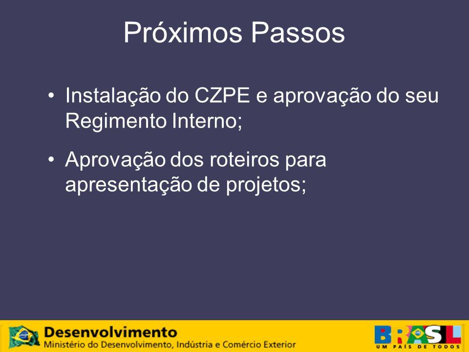 Próximos Passos Instalação do CZPE e aprovação do seu Regimento Interno; Aprovação dos roteiros para apresentação de projetos;