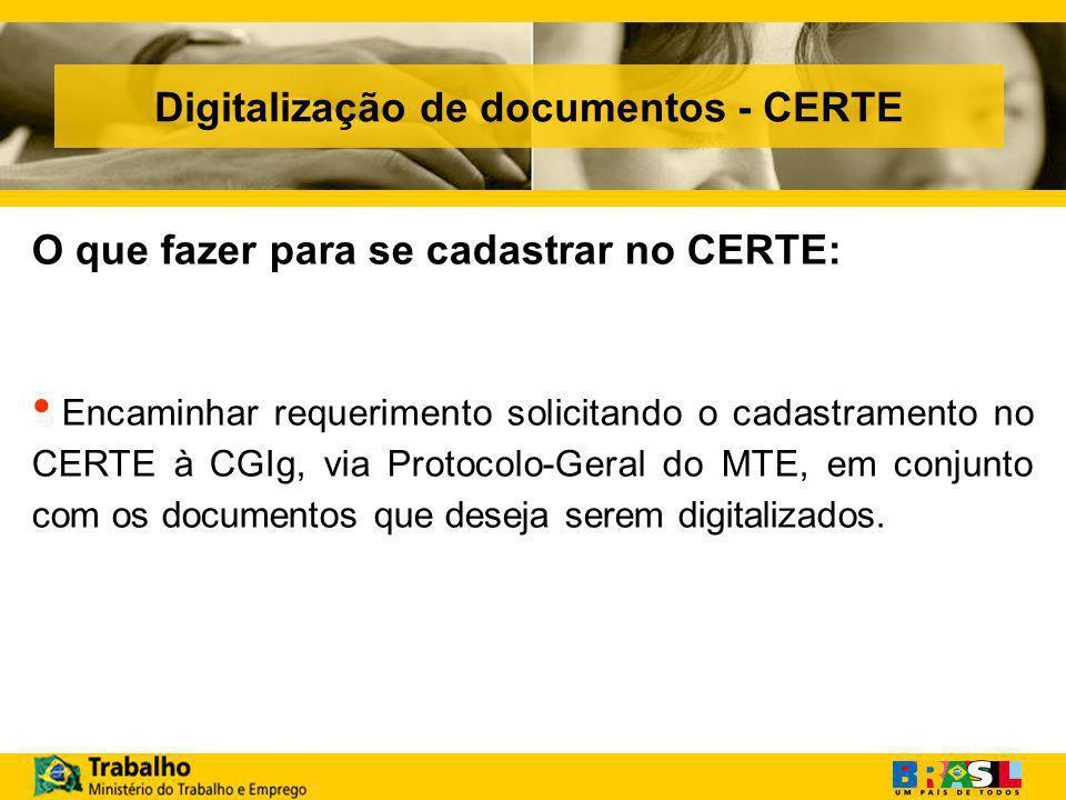 Digitalização de documentos - CERTE