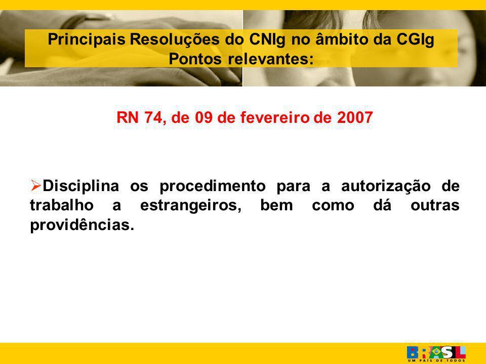 Principais Resoluções do CNIg no âmbito da CGIg