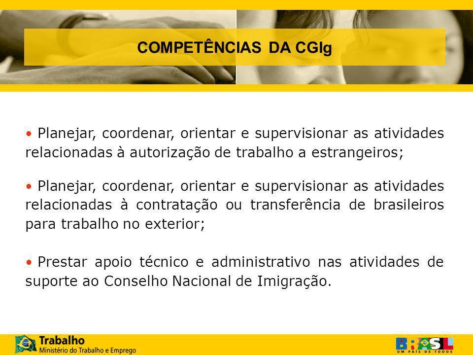 COMPETÊNCIAS DA CGIg Planejar, coordenar, orientar e supervisionar as atividades relacionadas à autorização de trabalho a estrangeiros;