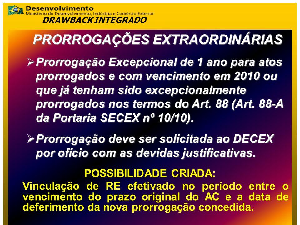 PRORROGAÇÕES EXTRAORDINÁRIAS POSSIBILIDADE CRIADA: