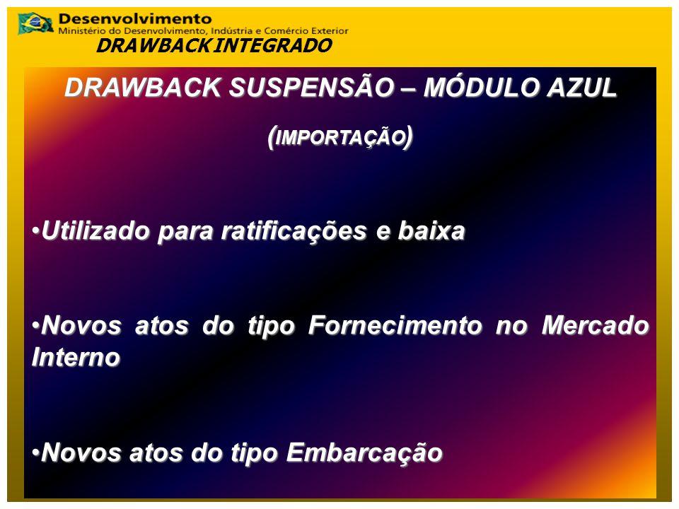 DRAWBACK SUSPENSÃO – MÓDULO AZUL