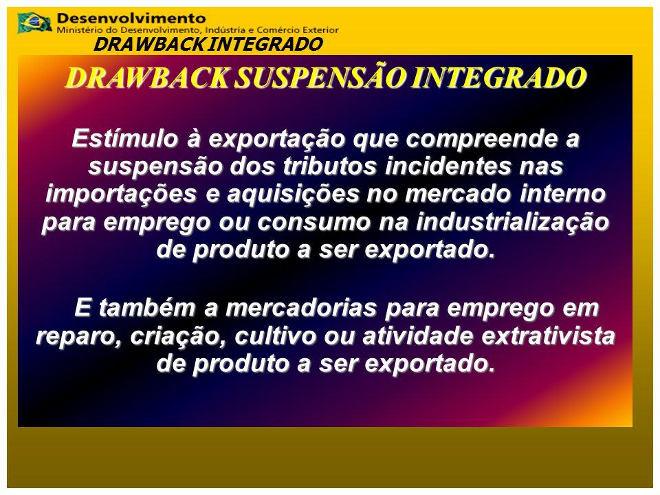 DRAWBACK SUSPENSÃO INTEGRADO