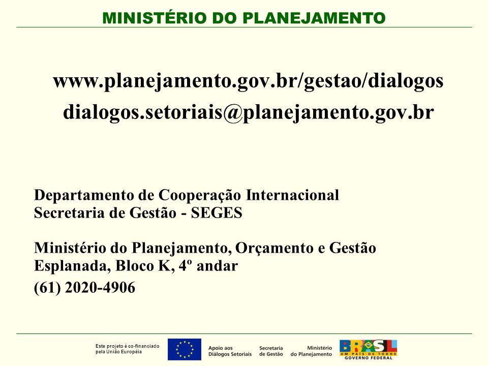 www.planejamento.gov.br/gestao/dialogos dialogos.setoriais@planejamento.gov.br. Departamento de Cooperação Internacional.