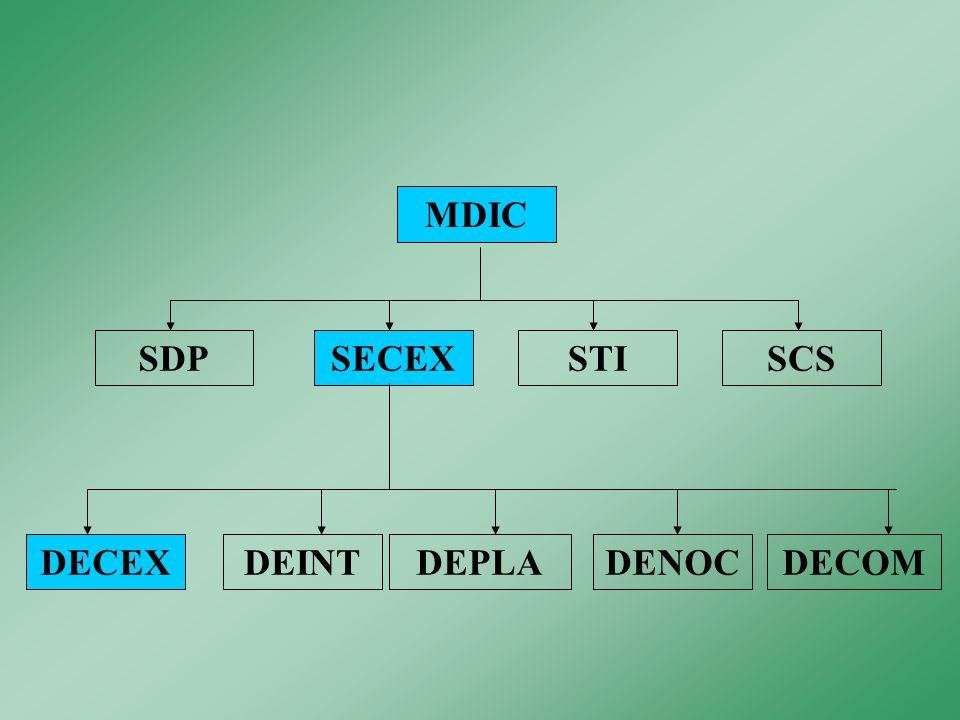 MDIC SDP SECEX STI SCS DECEX DEINT DEPLA DENOC DECOM