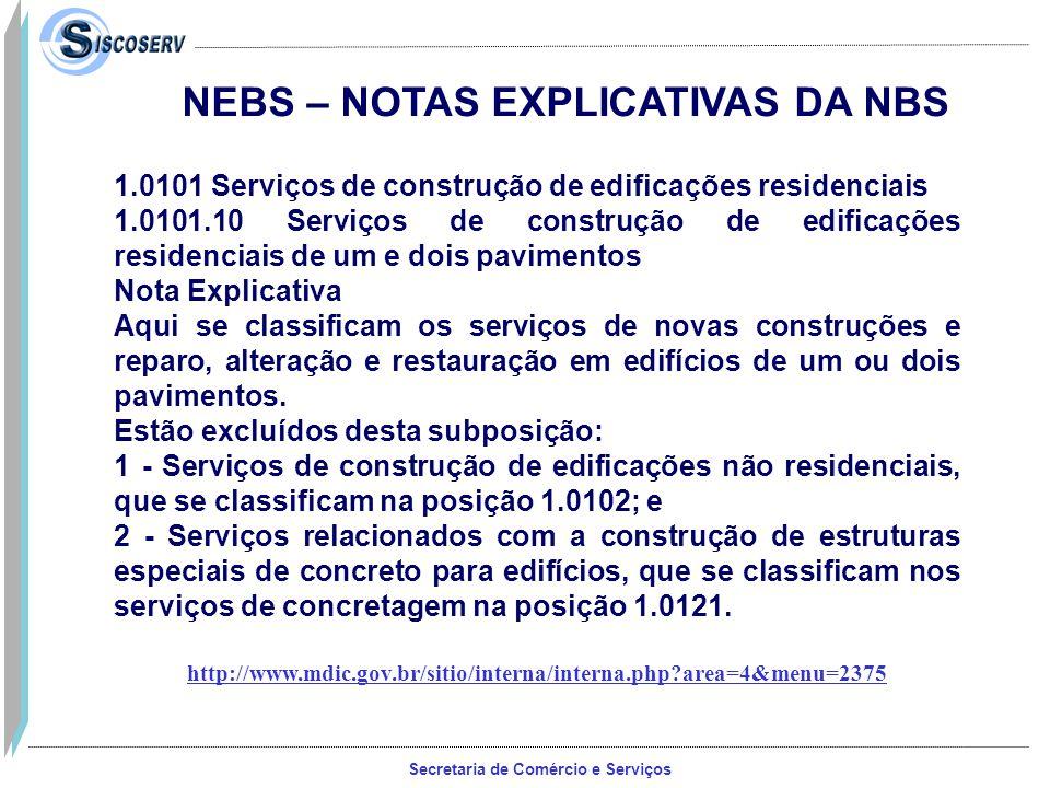 NEBS – NOTAS EXPLICATIVAS DA NBS